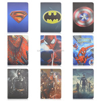 Cartoon Heroes Designs Flip Stand PU Leather Case For iPad air 2, Folio Tablet Cover For iPad 6 With Elastic Belt