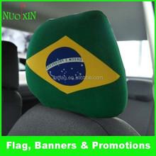 custom elastic polyester &spandex printed car headrest cover /promotion car seat headrest cover /car headrest flag wholesale