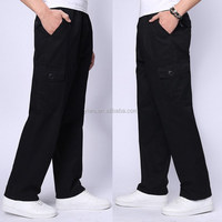 Leisure style 6 pocket black mens cargo pants casual