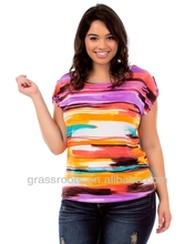 China Import Clothes Women Plus Size Colorful Brushstroke Print T-shirts TX0018