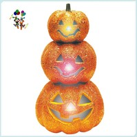 Halloween Party Plastic Light Up Glitter Stack Orange Pumpkins HPC-0924