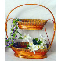 Ornate handicraft weave two tiers flower basket with handle for home decor