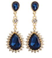 Alibaba Express Jewelry Luxury Blue Big Stone Drop Earring