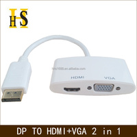 Displayport to hdmi vga 2 in 1 cable adapter support 4k*2k DP to hdmi vga converter cable