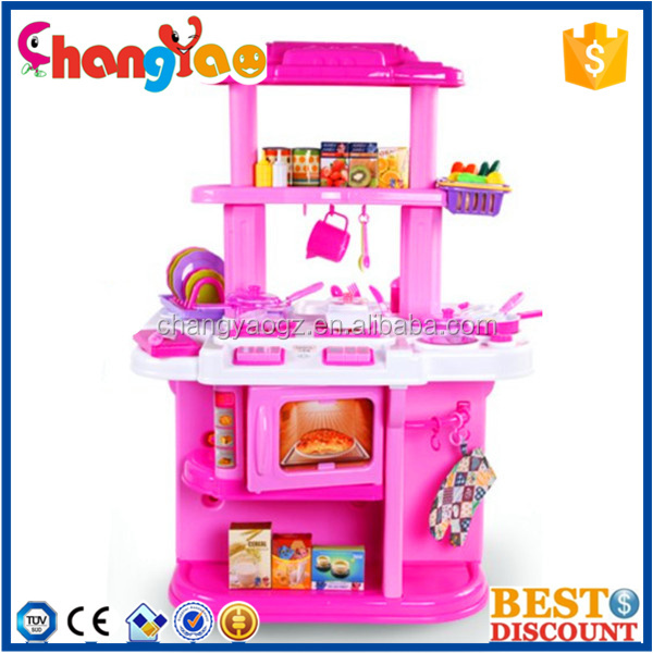 Wholesale kid colorful plastic cooking game set girls for Cheap kids kitchen set