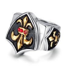 roccia gioielli punk in acciaio inox croce cavaliere fleur de lis anello ingrosso