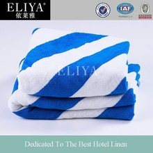 China Manufacturer 100% Cotton Blue and White Hotel Beach Towel