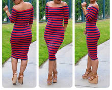 Off the Shoulder Halter Red Black Printing Striped Long Dress