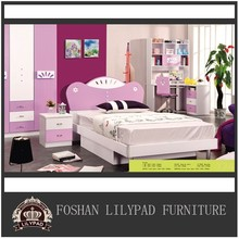Children study and living pink colors bedroom furniture sets