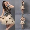 CY50525 net fabric design beaded applique short evening dresses odm cocktail dress