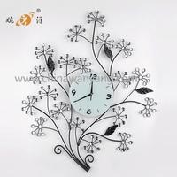 2015 china factory modern luxury tree design iron art quartz wall clock