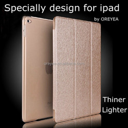 Hot Sale Silk Grain Ultra Thin Leather Case for apple ipad air 2 Cover Factory outlet