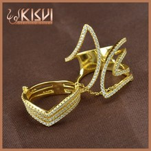 hot sale 925 sterling silver gold plating design Joint chain ring for young lady