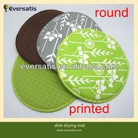 round printed microfiber dish drying kitchen mat