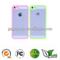 PC hard flexible bumper case for iphone 5 with rubber coating