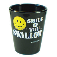 Smile face design glass fancy shot glass black