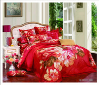 hot sales 100% cotton big flower wedding set bedding set 3d bed sheet
