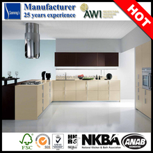 2015 New rustic luxury u-shaped kitchen cabinets laminate sheet in good price