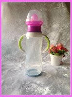 baby products BPA FREE pp/glass/silicone nursing bottle with double colors handle