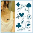 Adesivos impermeável tatuagem feminina de poker adesivos alfabeto tatuagem adesivos descartáveis Tatuagens Tattoo Masculino