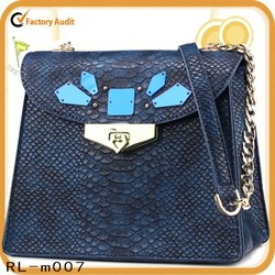 Hot selling genuine leather shoulder bag personality style women bag with snake