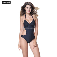 I-Glam Bikini Sexy Black One-piece Swimwear with Cut-out Side Bathing Wear