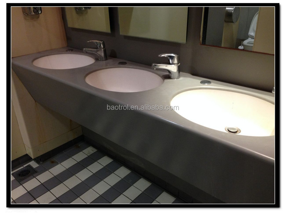 Customized Solid Surface Airport Toilet Vanity Top With Basin - Buy ...