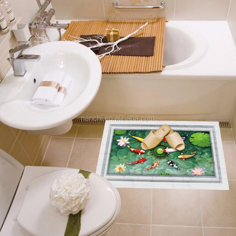 3d boden aufkleber teich fische bad fliesen aufkleber. Black Bedroom Furniture Sets. Home Design Ideas