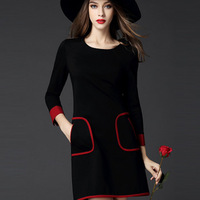 Fall 2015 new magenta and black color matching round collar 7 minutes of sleeve of cultivate one's morality show thin air fragra