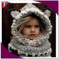 hot sale funny baby windproof wolf scarf hat set children crochet animal hat