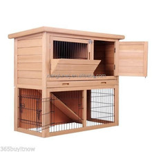 Rabbit Hutch Coop Guinea Pig Ferret Hen Wood House Poultry Cage w/ 2 Storeys Run