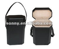 Black carrier pu leather wholesale wine bag