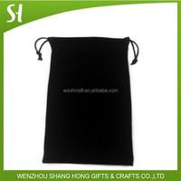 Black Velvet Bag with Logo in round shape, Velvet Jewellery pouch, velvet drawstring bag