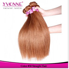 Top quality grade 5a peruvian straight hair weave color 30
