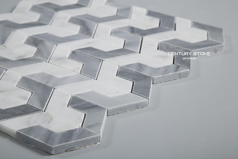 뛰어나지 흰색 연동 패턴 3 차원 벽과 바닥 대리석 모자이크 ...