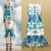 Top Quality New Fashion Dress Summer 2015 Ladies Cute Cartoon Print Bodycon Ruffles Dress Mid-Calf Length Mermaid Party Dress