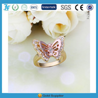 fashion cute butterfly shaped with crystal rhinestones finger ring