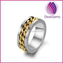 wholesale price 316L Stainless steel man ring with gold chain design