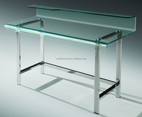 styplish simple fashionable smooth hot bent curved tempered clear glass metal frame computer table/office table SN-B68