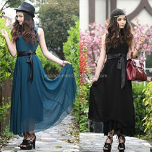 Full Long Chiffon Slim Solid With Sashes Women Summer Beach charming harley Casual Dresses Maxi manufacture guangzhou