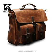 SK-T021 New arrival fashion men leather handbag with two pocket belt lock front sides