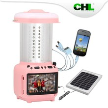 2015 new CHL less 10w ip65 solar camping light rechargeable lantern for camp charging