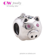 Fine Brand 925 Sterling Silver Crystal Pig Crystal Charm Wholesale