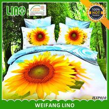 100% polyester 3d flat screen flower duvet cover set with 4 pillowcases