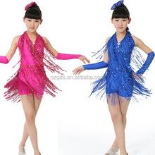 Gros nouvelle 2015 de danse latine Costume filles Fringe Ballroom de danse latine Costume de danse salsa robes rose bleu