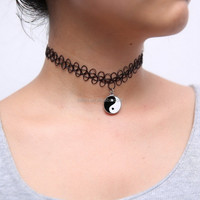 Top rated ebay Tatto choker stretch necklace with pendent