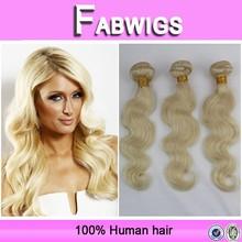 Fabwigs hot selling 8a grade cheap virgin brazilian body wave human hair 613 blonde hair weave