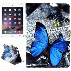 Blue Butterfly Pattern Horizontal Flip Leather Case for iPad Mini 3