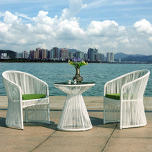 Modern wicker synthetic rattan coffee table and chair resort and hotel furniture