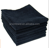 China Microfiber Manufacturer Different Sides Microfiber Black Color Waxing Cleaning Car Towels Car Wash Cloth